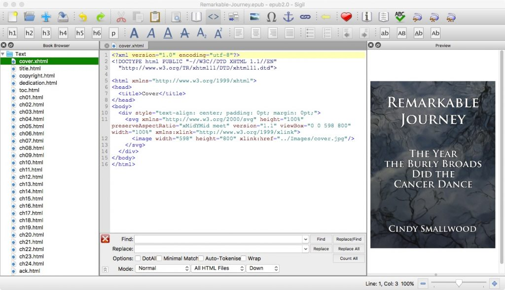 Sigil epub editor screen shot